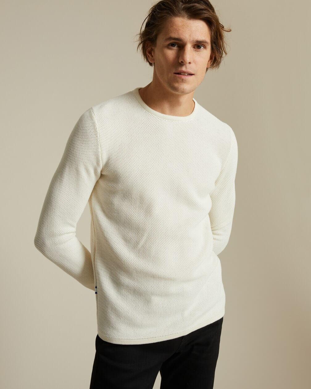 Pull Vincennes en coton léger et texturé écru
