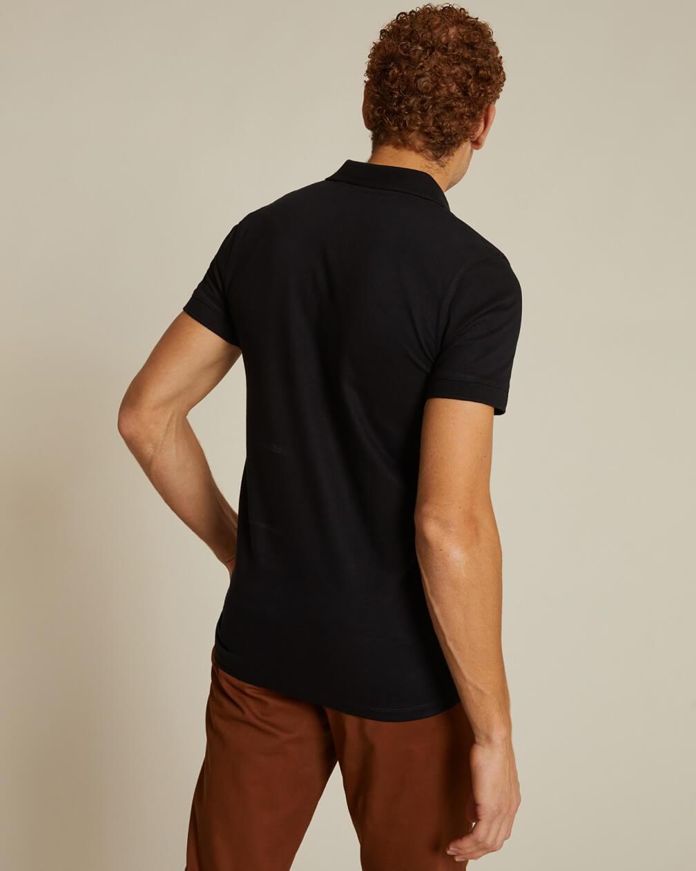 Polo Wagram noir en coton piqué