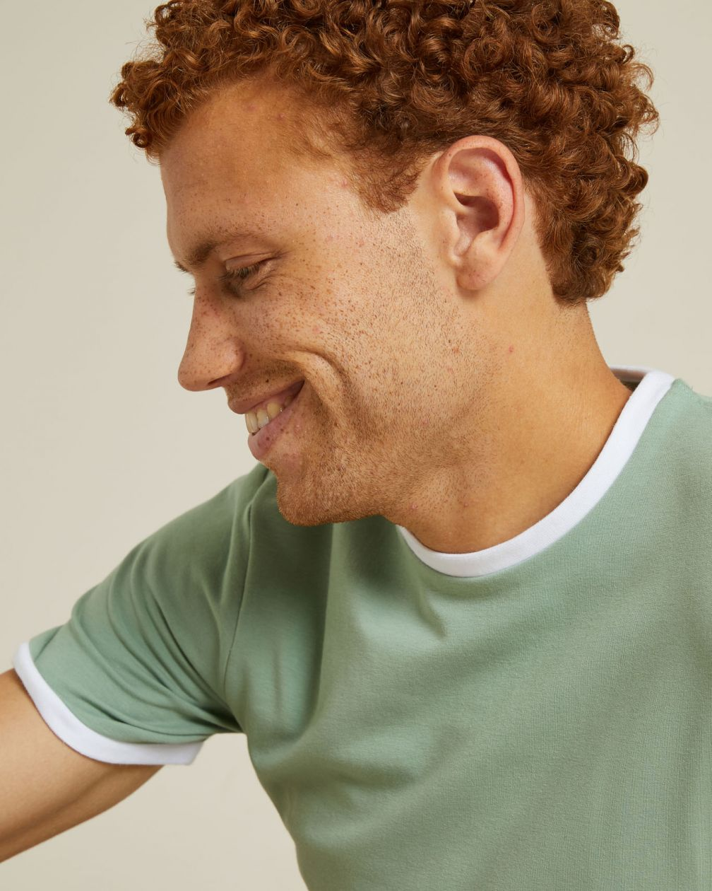 T-shirt Montsouris vert en coton épais