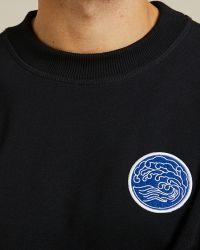 Sweatshirt Jaurès Hokusai noir en coton épais