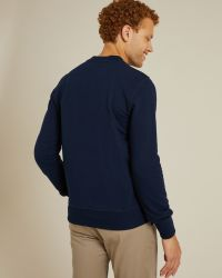 Sweatshirt Jaurès Hokusai marine en coton épais