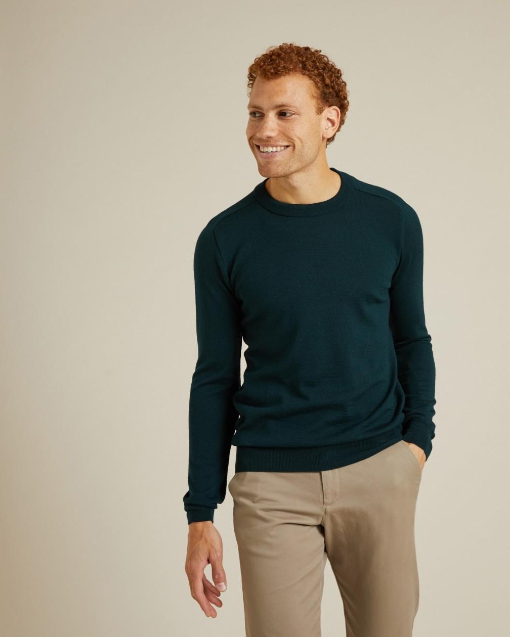 Pull Monceau vert en laine fine de mérinos