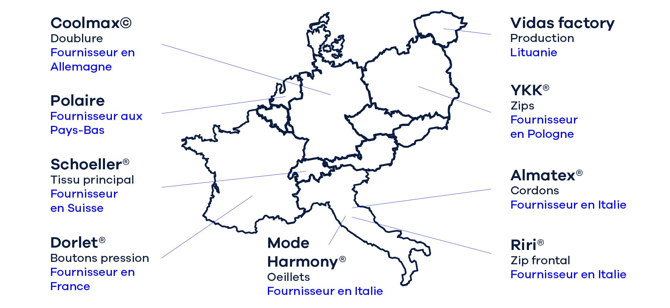 Imperméable Elon carte des fournisseurs - Adresse Paris